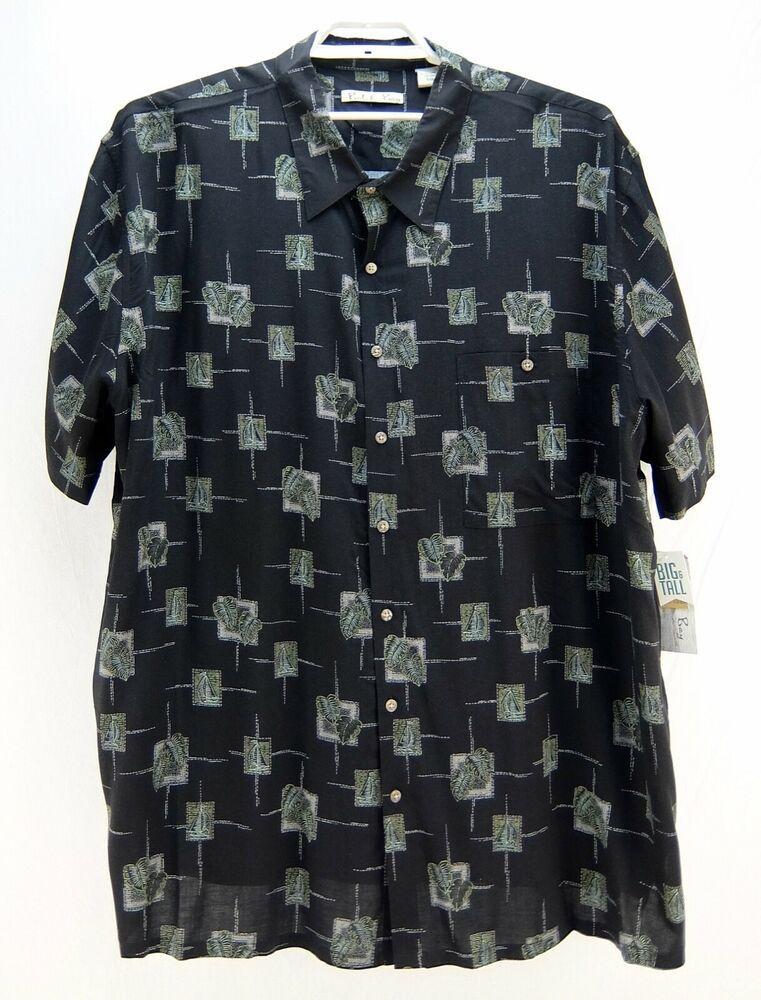 2a78dab32 Batik Bay Big and Tall Mens Hawaiian Shirt Black Green Palms Sailboats Size  4XB #BatikBay #ButtonFront