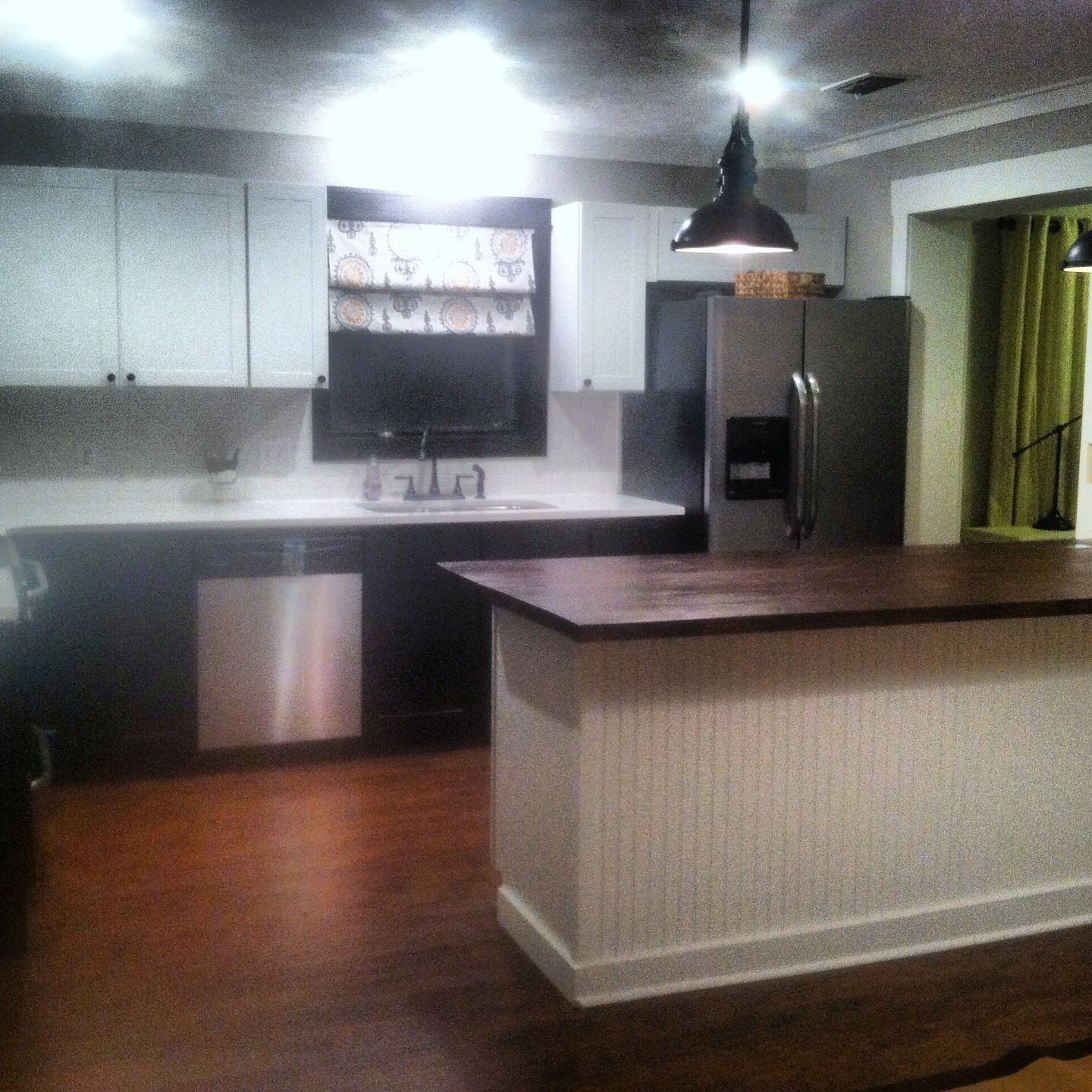 Heart Pine Countertops Kitchen Remodel Done In Stock Cabinets From Lowes