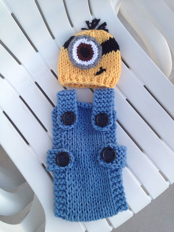 Despicable Me Yellow Hat Minion Beanie With Blue Denim Overalls