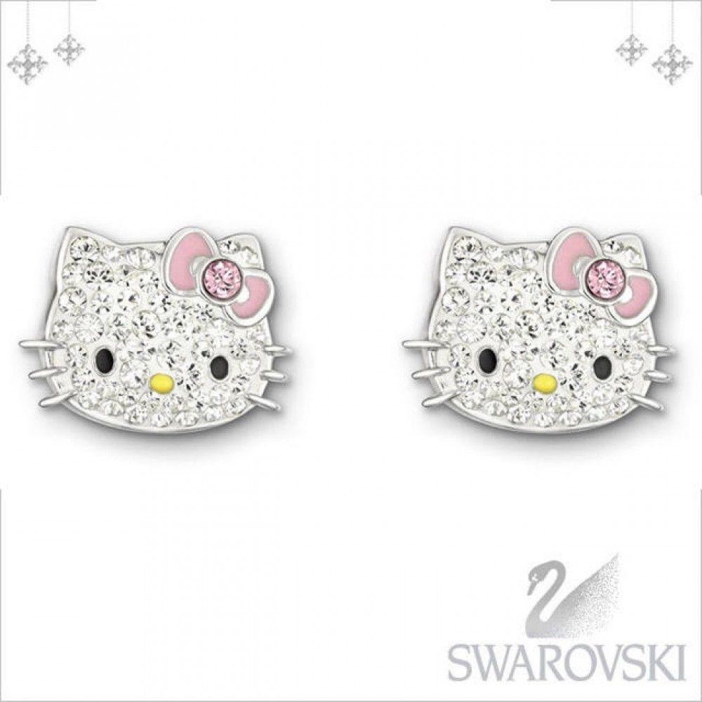 ee614ba15 Sanrio Hello Kitty Swarovski Earrings Pink Ribbon Glitter #HelloKitty