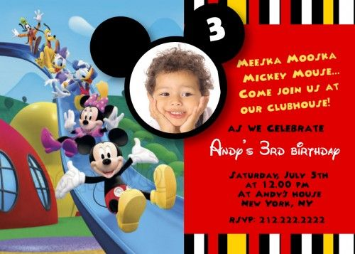 Mickey mouse invite wording birthday themes pinterest mickey mouse clubhouse custom photo birthday party invitation stopboris Image collections