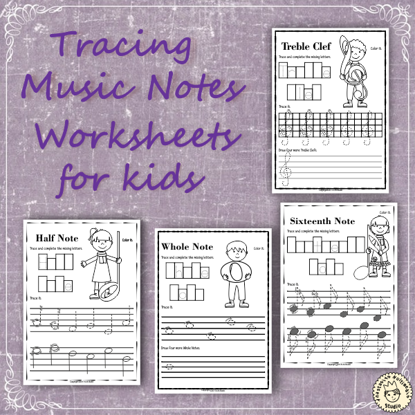 Tracing Music Notes Worksheets For Kids Music Notes Worksheets
