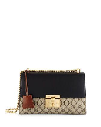 Gucci Linea C GG Supreme Lock Shoulder Bag, Black/Brown