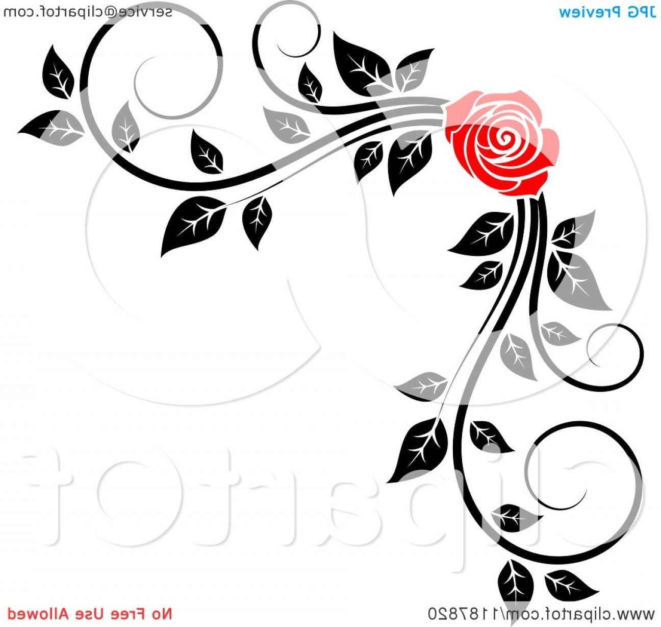 Simple Corner Border Clipart Of A Red Rose And Black White Foliage Royalty Free Vector Illustra Clip Art Borders Free Vector Illustration Flower Border Clipart