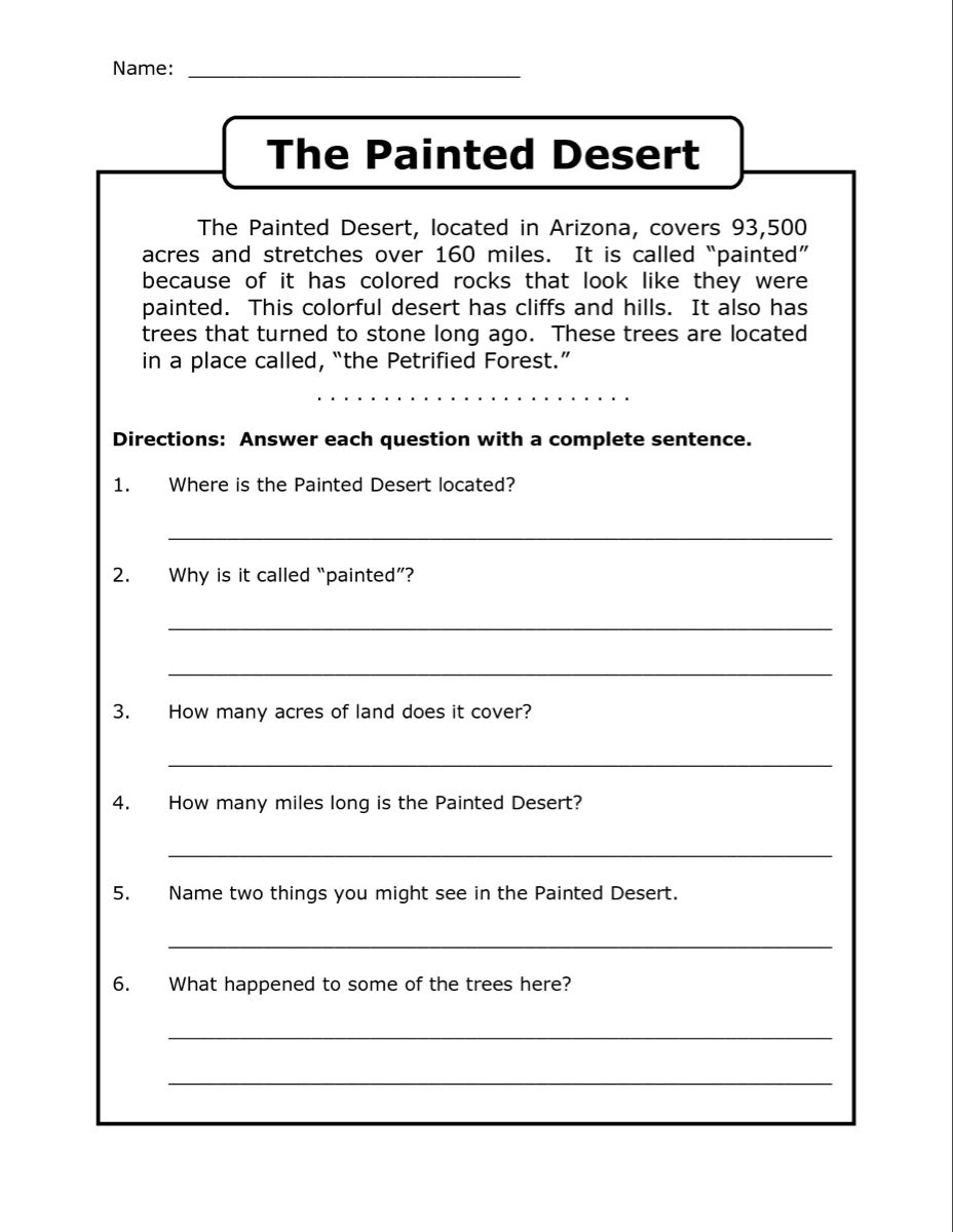 4th Grade Reading Comprehension Worksheets - Best Coloring Pages For Kids   4th  grade reading worksheets [ 1200 x 928 Pixel ]