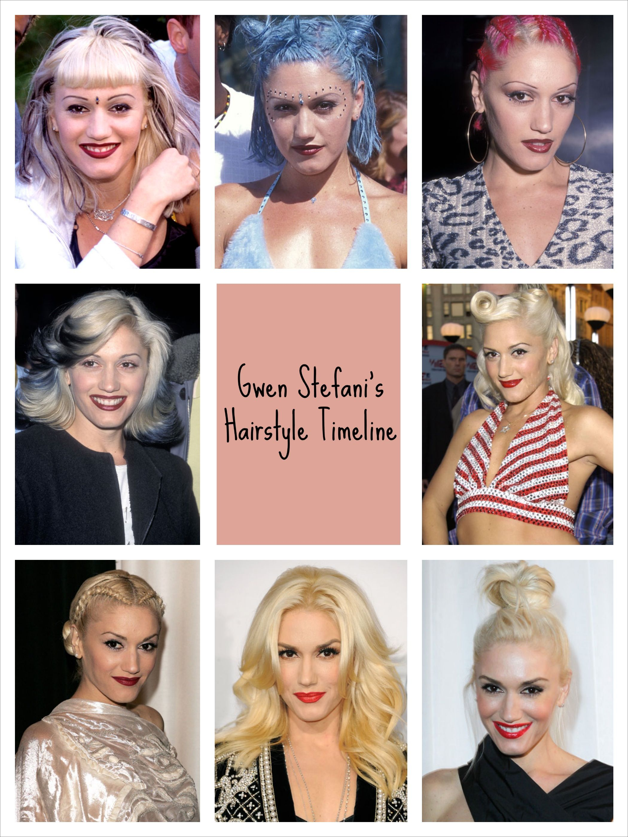 The Makeover Timeline Gwen Stefani S Many Hair Colors Styles Cool Hairstyles Blonde Dye Brunette To Blonde