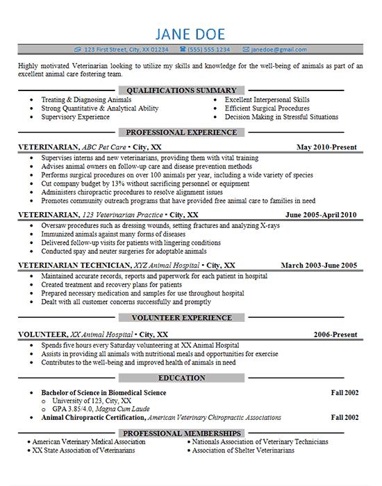 Resume Examples Veterinarian Resumeexamples