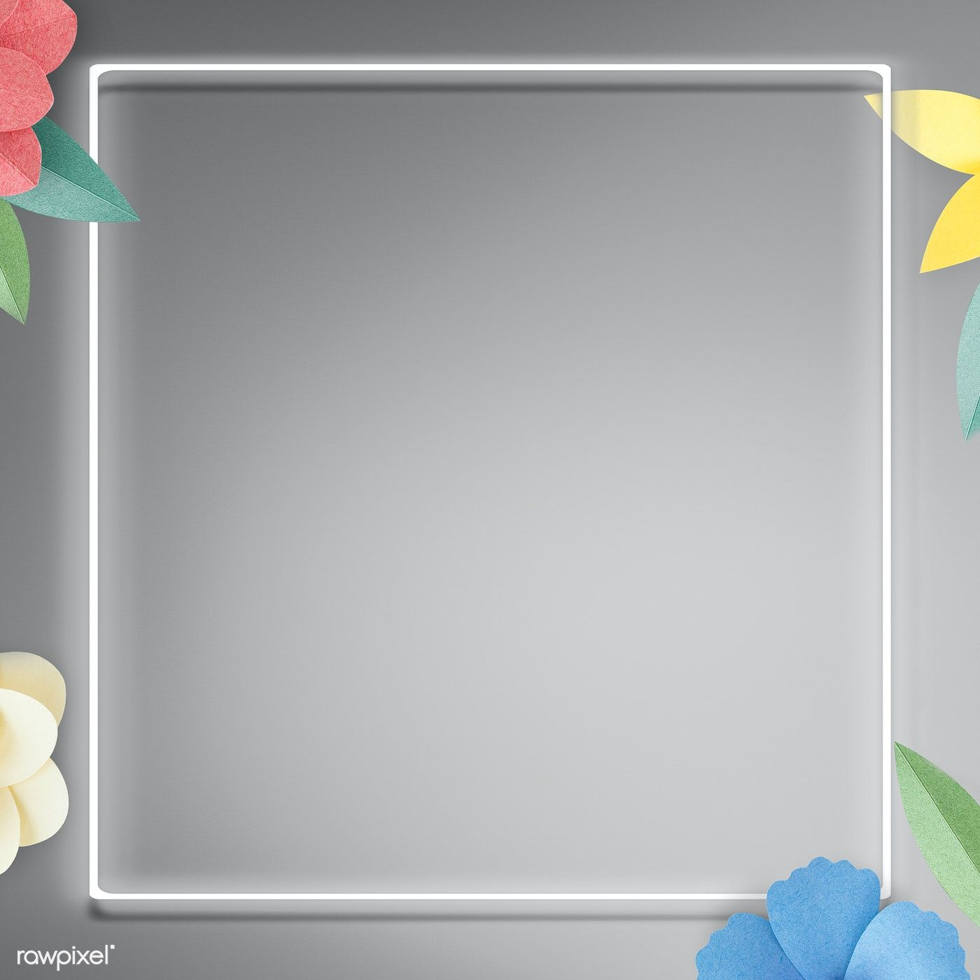Download Premium Illustration Of Flower Decorated Neon Frame On Gray Wall Flower Decorations Grey Walls Frame