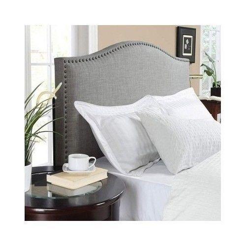 Upholstered Linen Fabric Headboard Nailhead Trim Full Queen Bedroom Furniture | eBay
