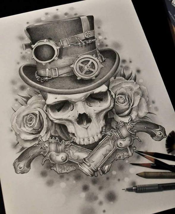 e5bad932c Skull Steampunk Tattoo Design, Steampunk Tattoo Sleeve, Tatuajes Tattoos,  Skull Tattoos, Symbol