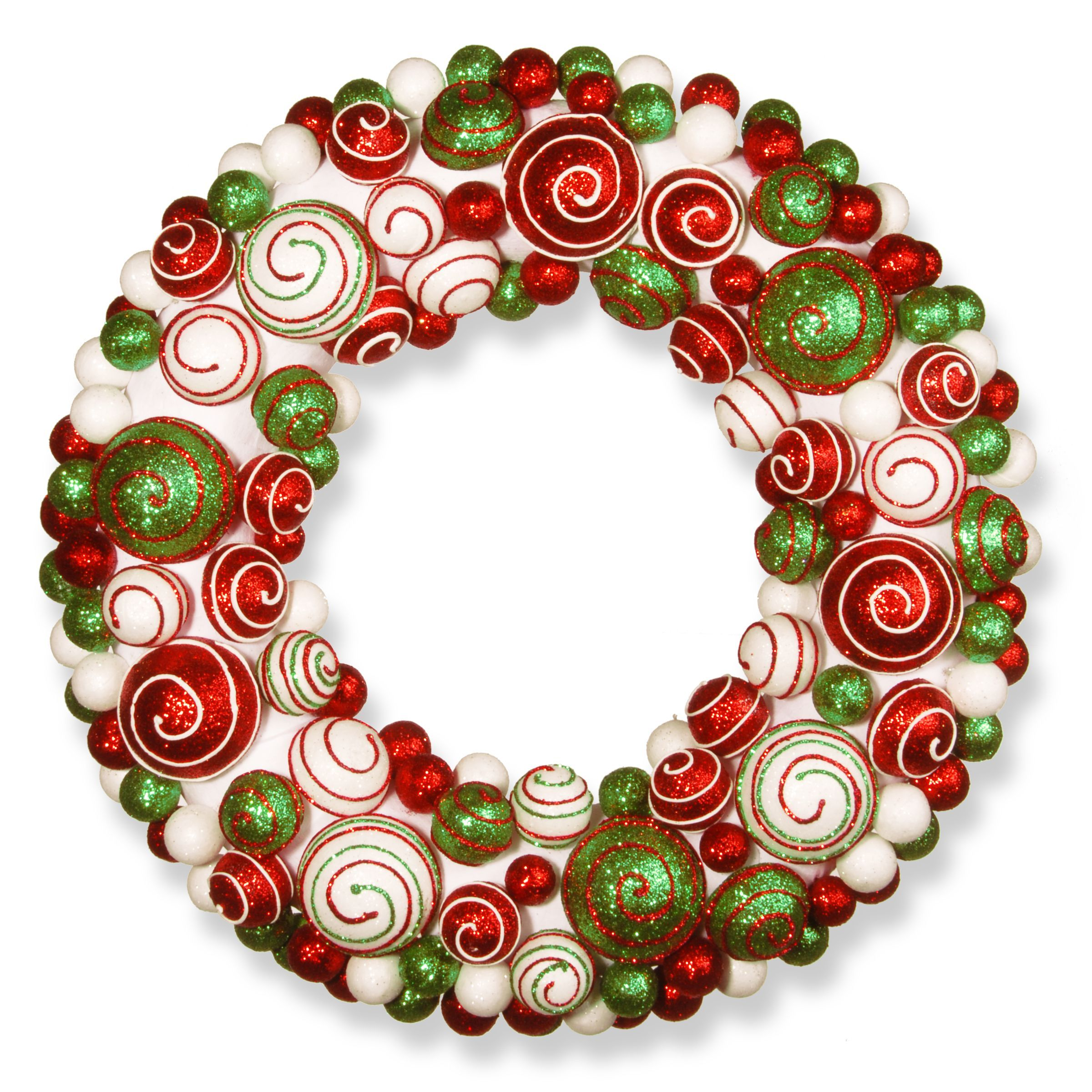 National Tree Company 20-inch Ornament Wreath (RED, White, Green ...