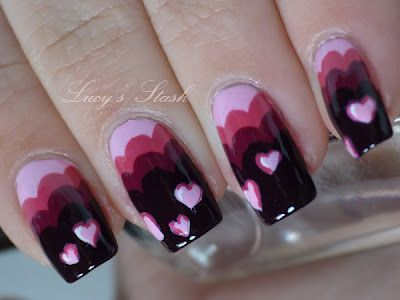 scalloped edge + heart valentines nails