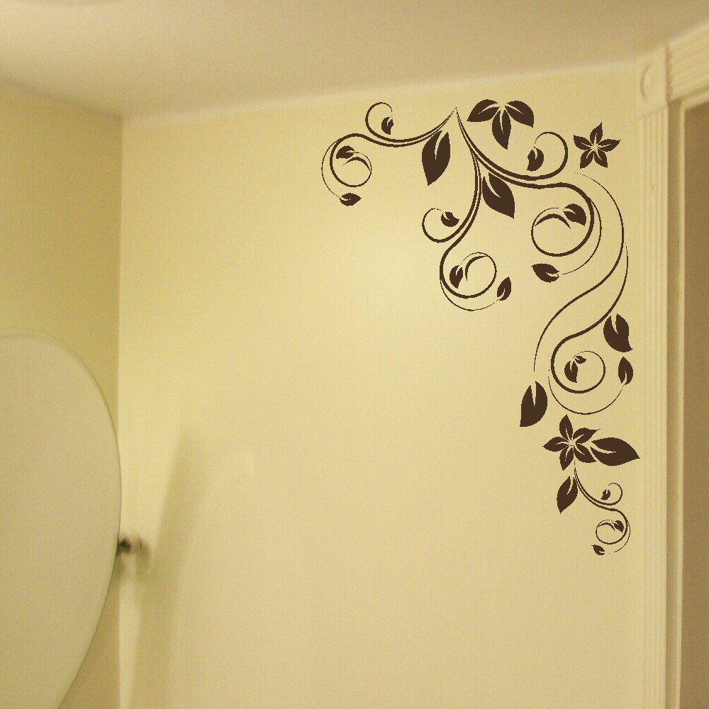 Adesivo da parete con grande fiore ad angolo, grande, da interno ...