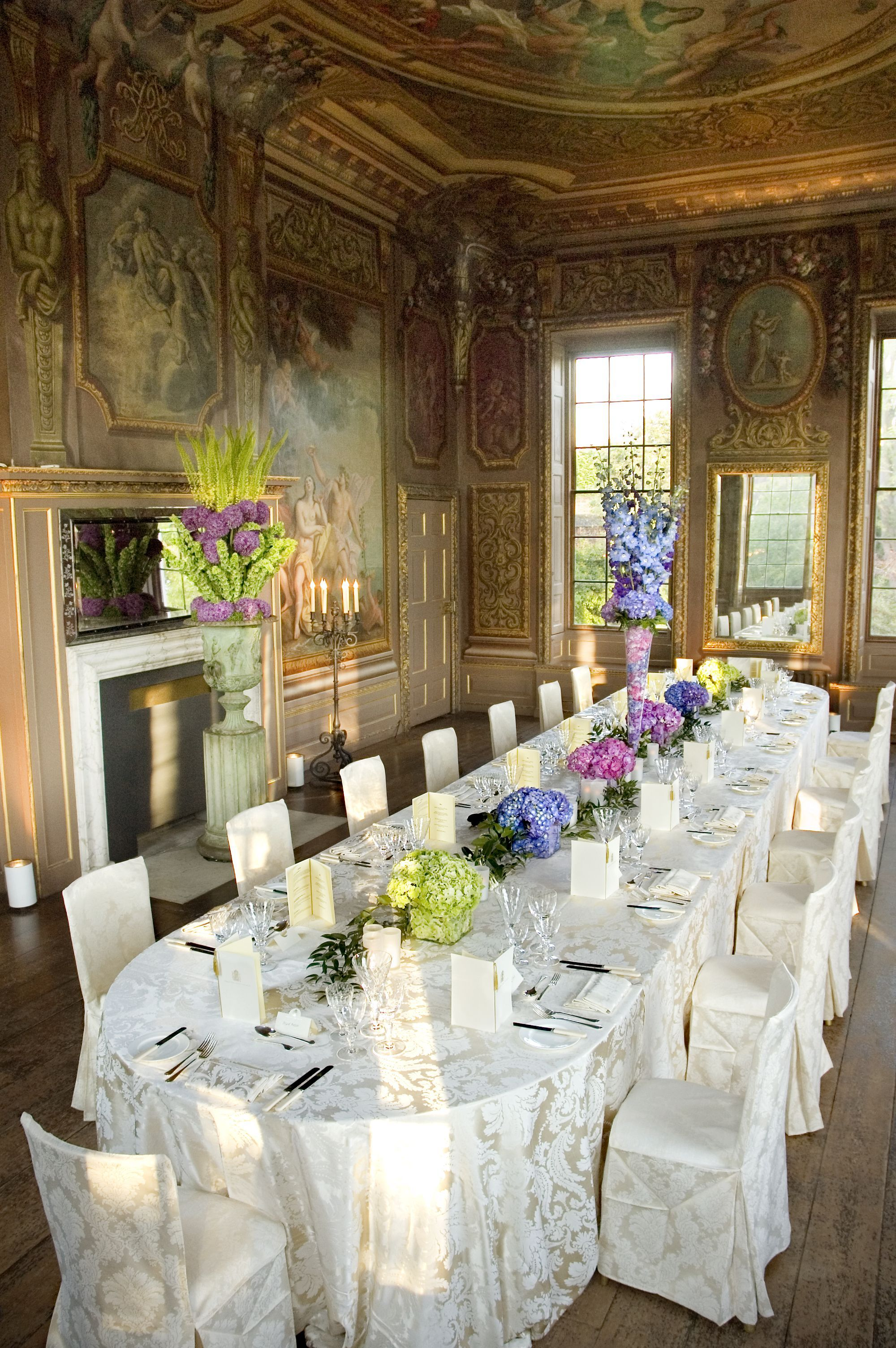 An Intimate Wedding Reception In The Little Banqueting House At Hampton Court Palace With Ivory Damask And Colourful Hyacinths