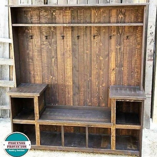 Recycled Pallets Wooden Wardrobe with Clothes Hanger ...