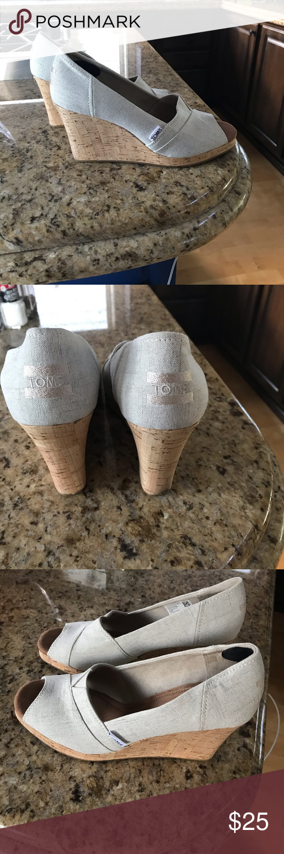 Toms wedges worn once Worn once.  Toms wedges.  In pretty much perfect condition. Toms Shoes #tomwedges Toms wedges worn once Worn once.  Toms wedges.  In pretty much perfect condition. Toms Shoes #tomwedges