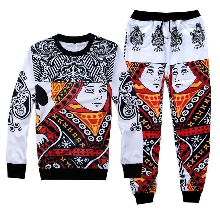 Women//Men/'s playing cards suits 3D Print Sweatshirt//pants Tracksuit sweat suits