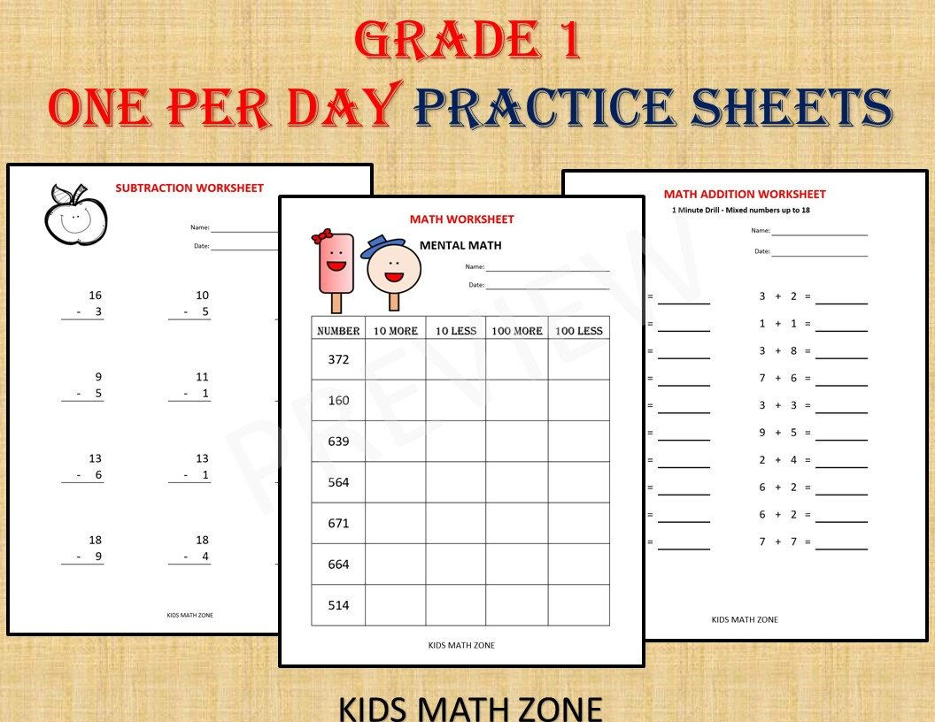 Grade 1 Math Workbook One Per Day 120 Math Worksheets Instant