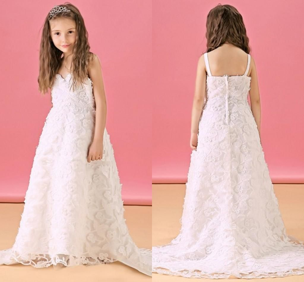 Princess Little Flower Girl Wedding Dresses with Lace Applique ...