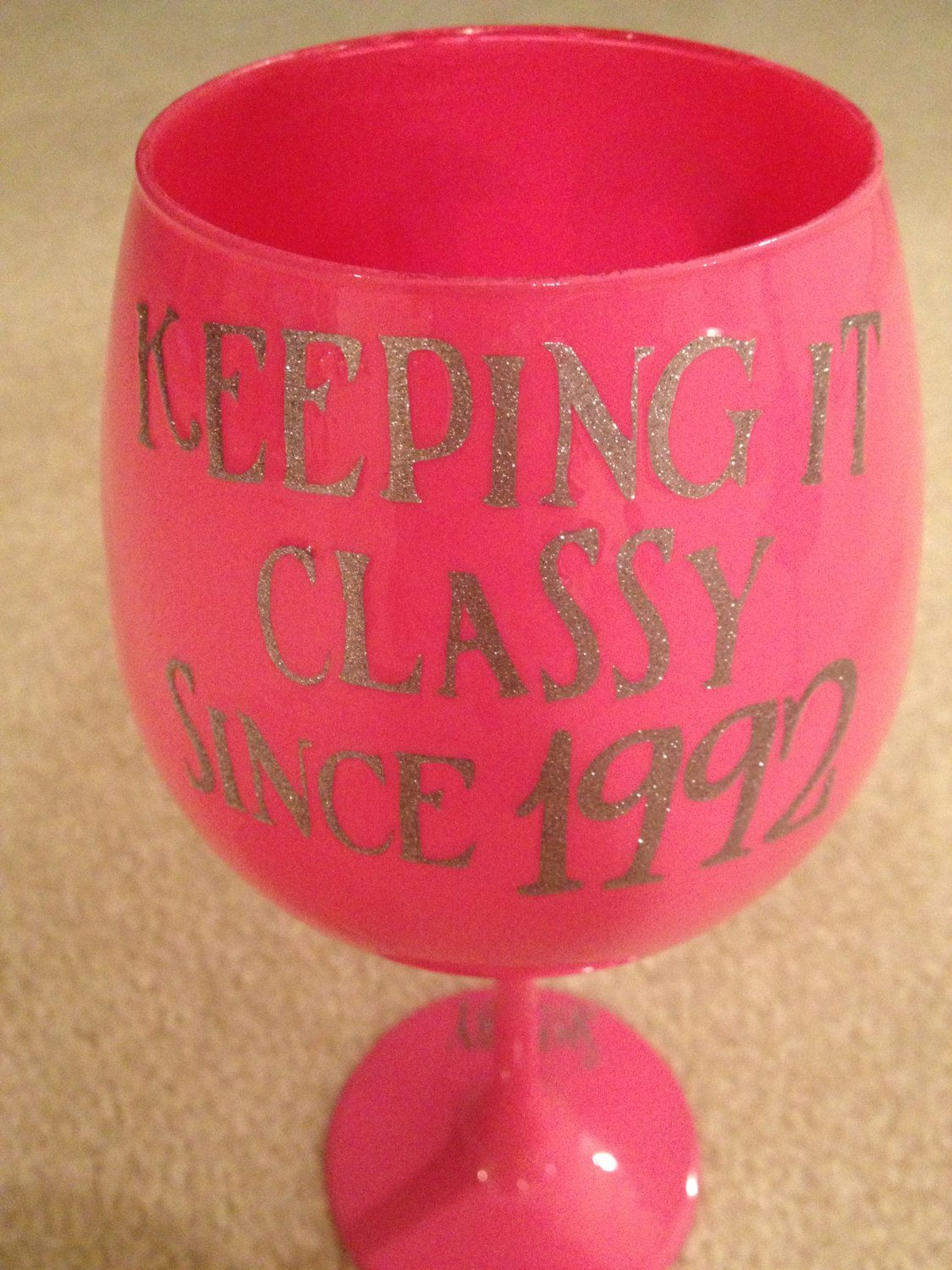 Birthday Keeping It Classy Since Personalized Wine Glass 15 00 Via Etsy 21st Bday Ideas Cute Couple Gifts Personalized Wine Glass