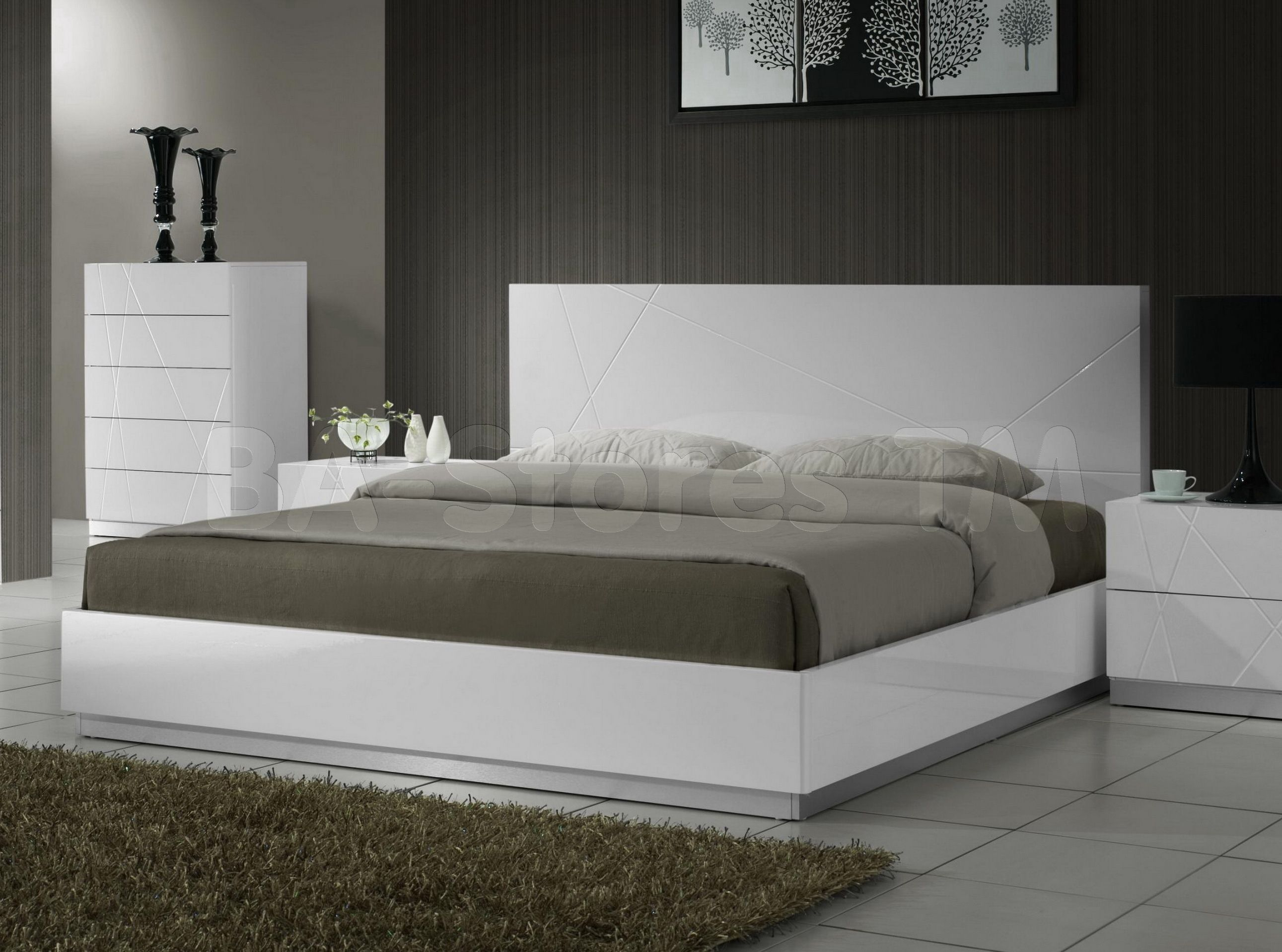 Modern White Lacquer Bedroom Sets
