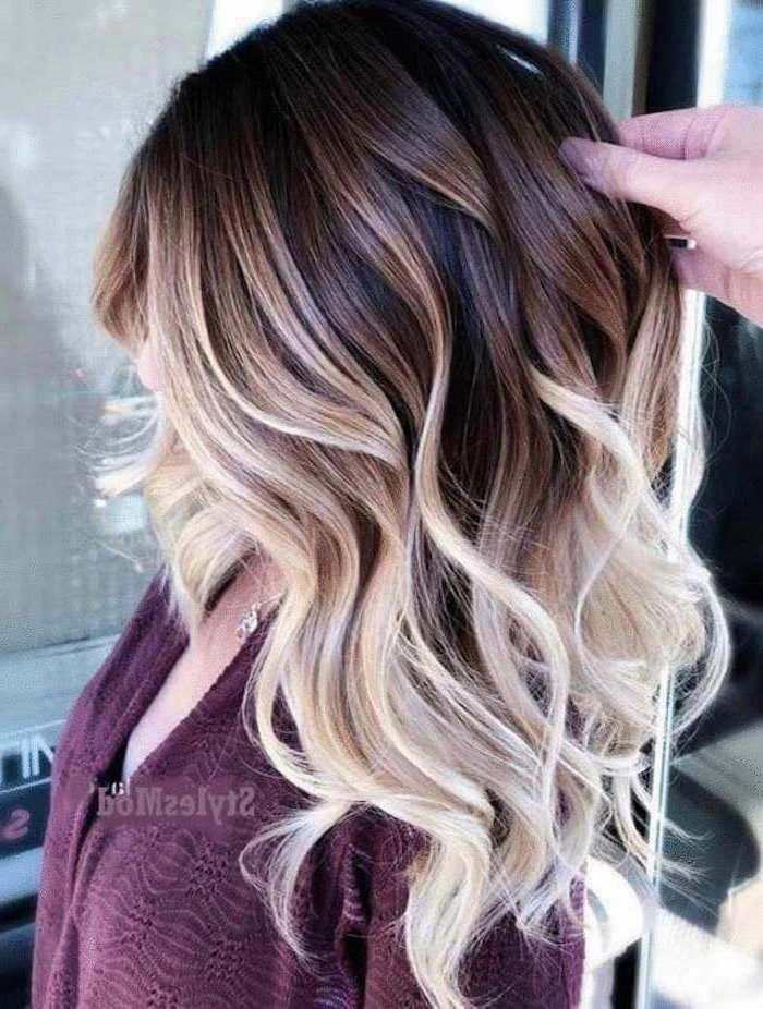 Brown To Blonde Medium Length Wavy Hair Rose Gold Ombre Hair Purple Top Haircolorbalayage Ombre Hair Color For Brunettes Cool Hair Color Ombre Hair Blonde