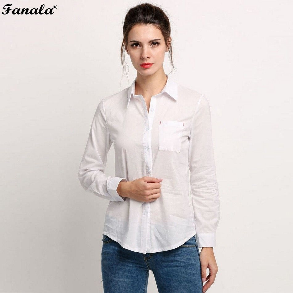 Click to Buy << 2017 White Shirt Summer Style Women Work Wear Long ...