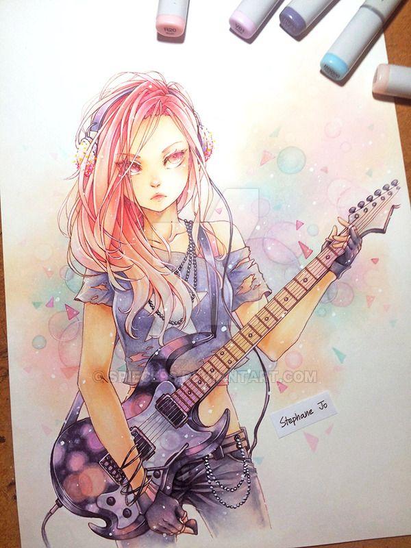 Rock N Roll By Spiece96 Anime Music Anime Chibi Musician Artwork