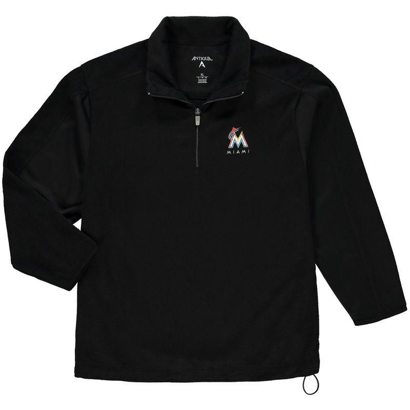 Miami Marlins Antigua Youth Frost Fleece Pullover Jacket - Black