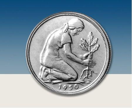 """Die seltenste Münze der BRD 50 Pfennig """"Bank deutscher"""