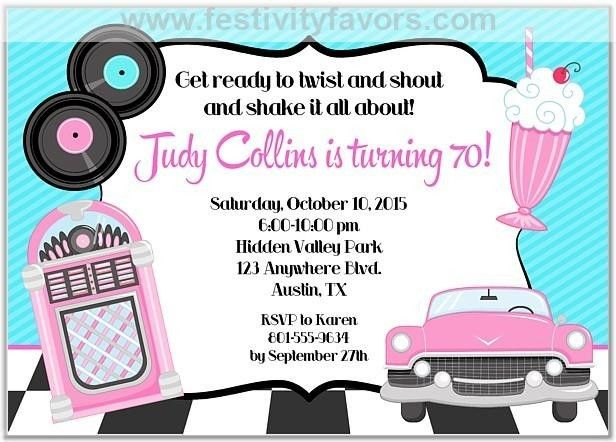 50s Theme Birthday Party Invitations Party invitations Birthdays