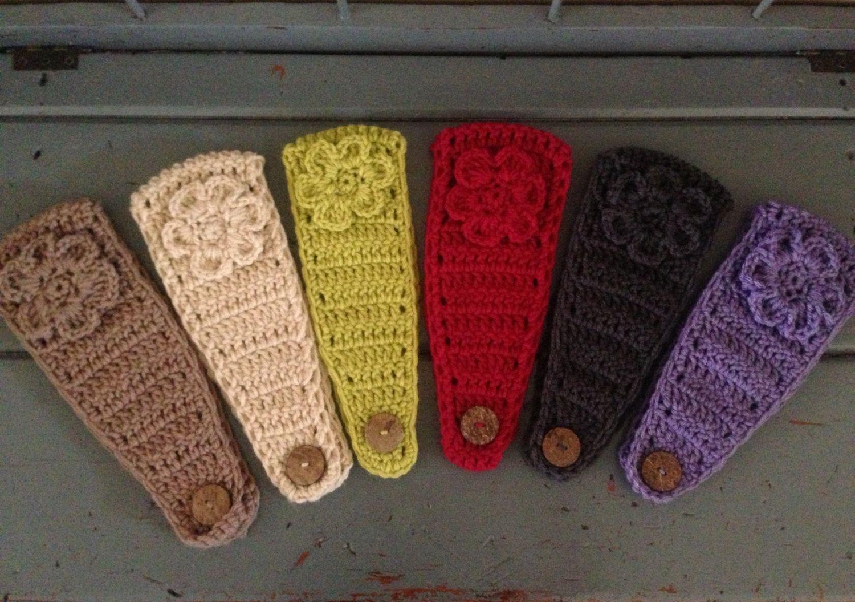 Women\'s Ear Warmer Crochet Earwarmer Headband Head Wrap With Button ...