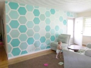 How To Stencil Your Own Hexagon Wall For My Love Of Wall Paint
