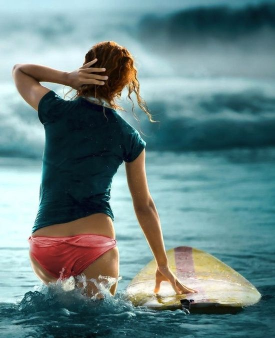 Girl Surfing in Sea #surfgirls
