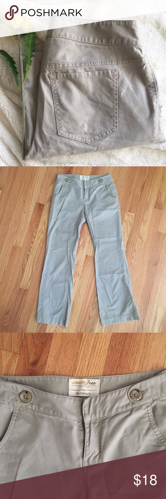 """VS Christie Fit Stretch Chinos Worn a couple of times, excellent used condition. No rips/stains/holes. From Victoria's Secret before they stopped selling casual clothing. London Jean brand. Size 2 short. Khaki color. 8"""" rise. 29.5"""" inseam. Waist is 14"""" laying flat. 97% cotton / 3% spandex. Reasonable offers are welcome! ✨ Victoria's Secret Pants Boot Cut & Flare"""