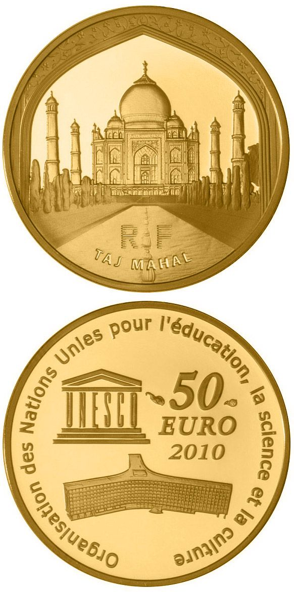 N♡T.50 euro: Taj Mahal.Country: France Mintage year: 2010 Face value: 50 euro Diameter: 22.00 mm Weight: 8.45 g Alloy: Gold Quality: Proof Mintage: 1,000 pc proof