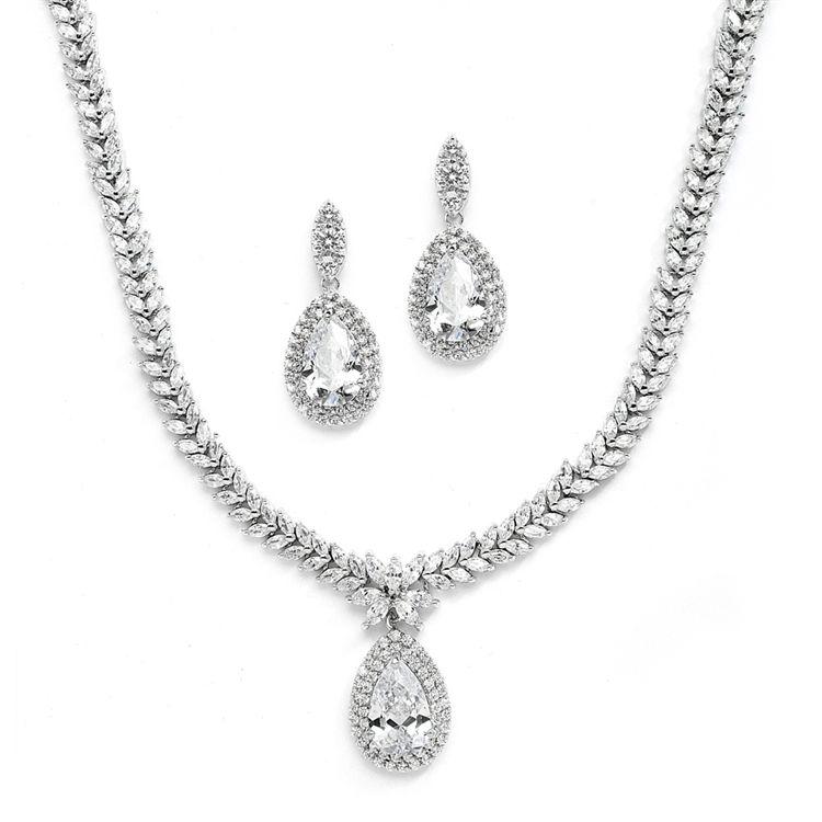 Regal CZ Wedding Jewelry Set with Pear Shaped Drop -- Affordable Elegance Bridal -