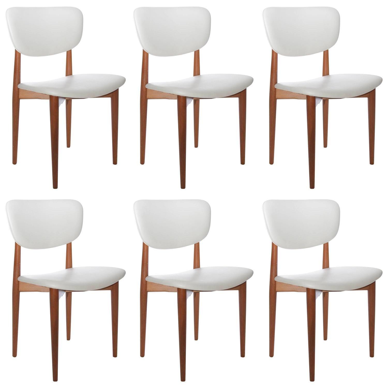 Set Of Six Danish Modern Dining Chairs Restored In White Vinyl