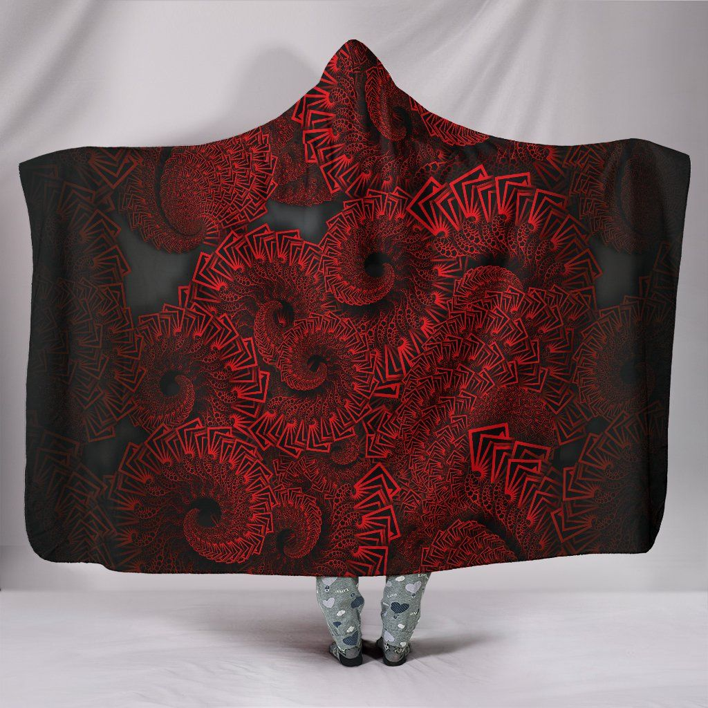 Photo of Octopus Fractal – Hooded Blanket – Octopus Fractal / Adult 80×60