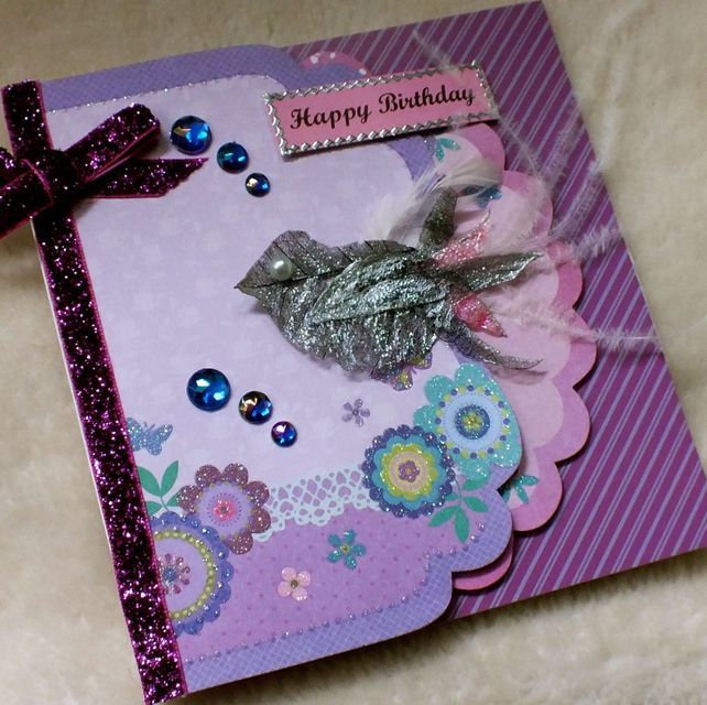 Luxury Handmade Bird Birthday Card Glitter Ribbon Handmade