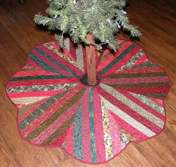 Christmas Tree Skirt Quilted Tree Skirt Quilt Red Green My Quiltsy