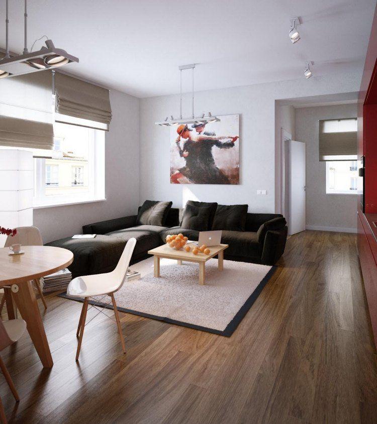 deco-salon-moderne-canapé-marron-sombre-tapis-beige-table-basse-bois