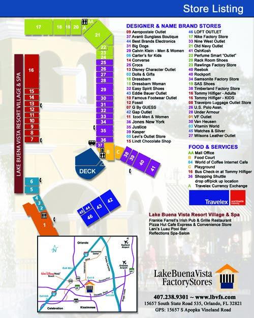 lake buena vista resort map Lake Buena Vista Factory Store S Map Orlando Outlet Lake Buena lake buena vista resort map