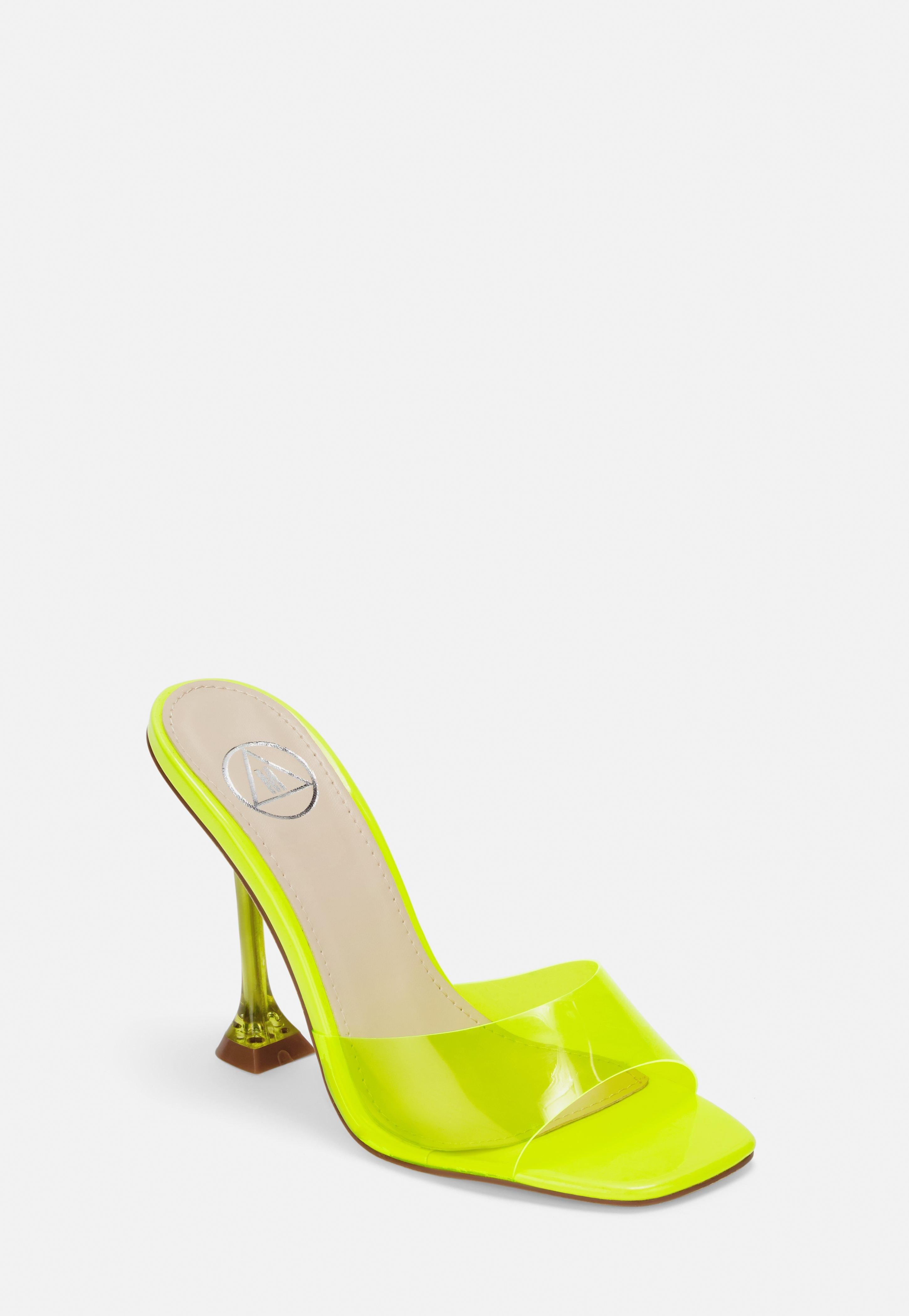 Neon Yellow Clear Feature Heel Mules | Heels, Heeled mules