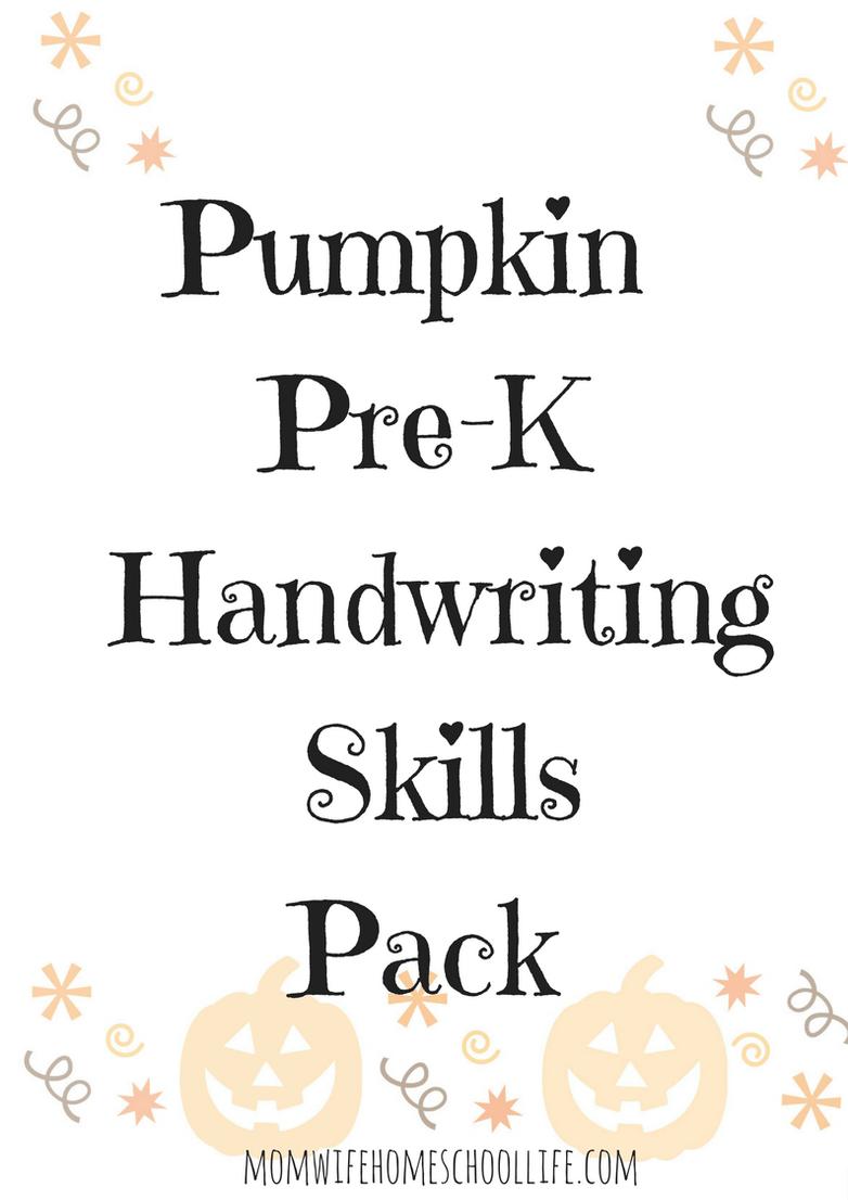 Free Pumpkin Pre K Handwriting Skills Worksheets Helpful