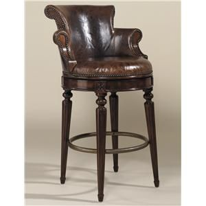 Shop for Maitland Smith Aged Regency Finished Mahogany Swivel Barstool Venetian Regal Leather Upholstery and other Bar and Game Room Stools at