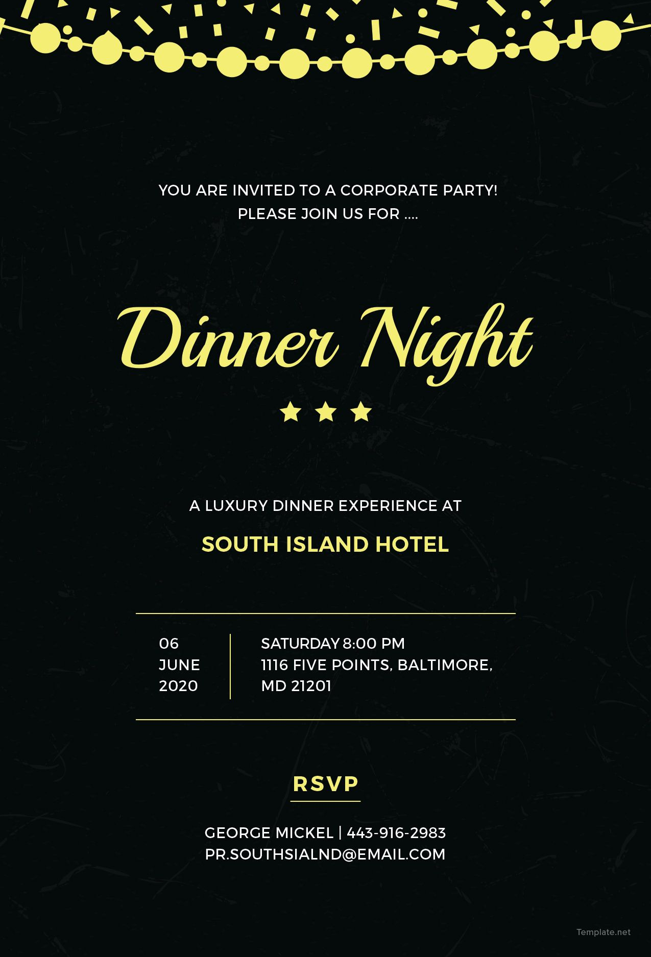 FREE Company Dinner Night Invitation Template - Word (DOC)  PSD