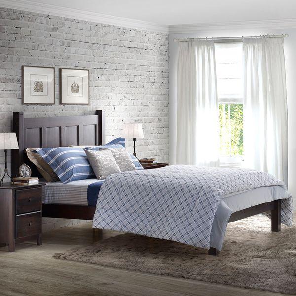 Grain Wood Furniture Shaker Solid Wood Full-size Panel Platform Bed ...
