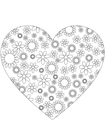 Heart With Flowers Coloring Page Coloring Pages Flower Heart Free Printable Coloring Pages