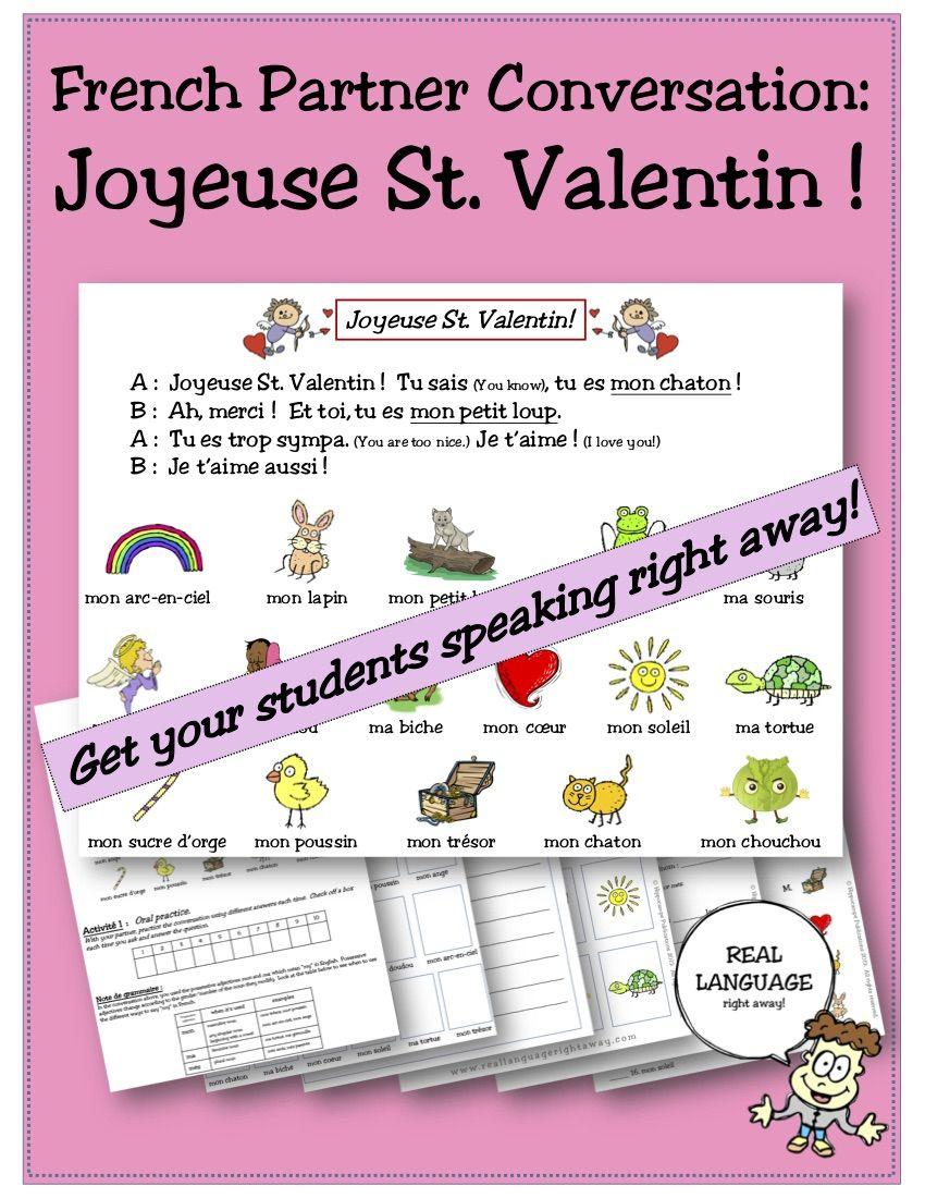 French Partner Conversation Joyeuse St Valentin Happy Valentine S Day How To Speak French Happy Valentines Day Happy Valentine